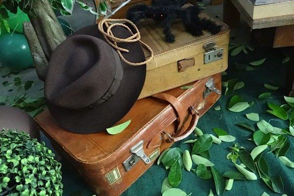 Chapéu, chicote e malas do Indiana Jones decorando com estilo e originalidade!