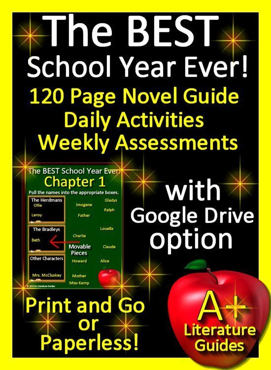 Free up your time with The BEST worst School Year Ever by Barbara Robinson, a complete 120 page Common-Core aligned Novel Guide. This literature guide has everything you need including chapter questions and answers, weekly quizzes and final test, interactive activities, writing assignments and so much more! The Google Drive option allows students to answer chapter questions and complete chapter activities using Google Slides. It can be used with or without Google Drive.