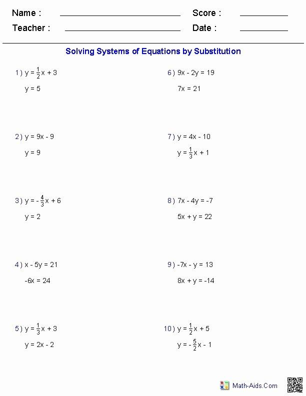 Substitution Method Worksheet Answers Best Of Solving Two Variable Systems Of Equations Workshee In 2020 Systems Of Equations Algebra Worksheets Pre Algebra Worksheets