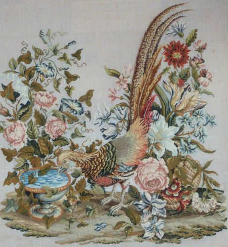 Beautiful Antique Woolwork Needlework Embroidery Picture Of A Pheasant Bird