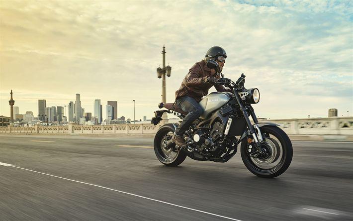 Download wallpapers Yamaha XSR900, 4k, rider, 2017 bikes, road, superbikes, Yamaha