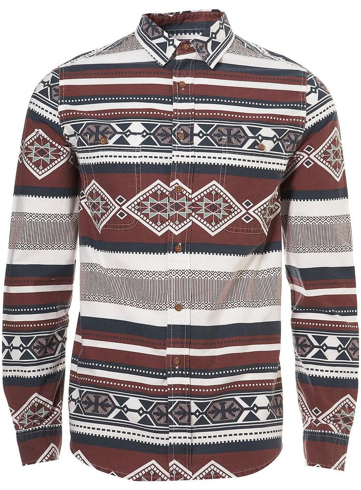 BURGUNDY AZTEC PATTERN SHIRT - Topman Price:£32.00