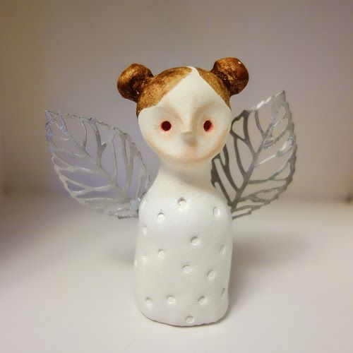 Cecilie design: Fairy / angel made from hand modeled clay and mixed media.
