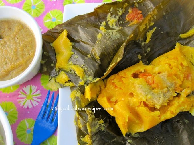 Tamales de Pipian de Colombia- are a staple in the Valle del Cauca region in Colombia. There are different variation of tamales for every region of the country. Here are two additional types of tamales: Tamales Antioqueños and Tamales Tolimenses. Tamales de Pipían are the smallest of the various tamales and are filled with a potato-peanut mixture