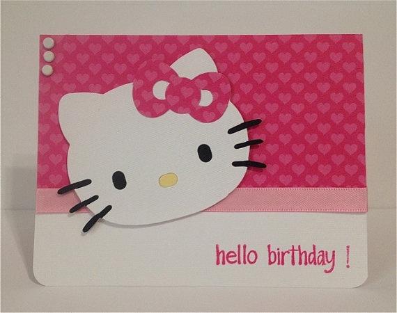 Hello Kitty Birthday Card by Craftykitten on Etsy, $3.75