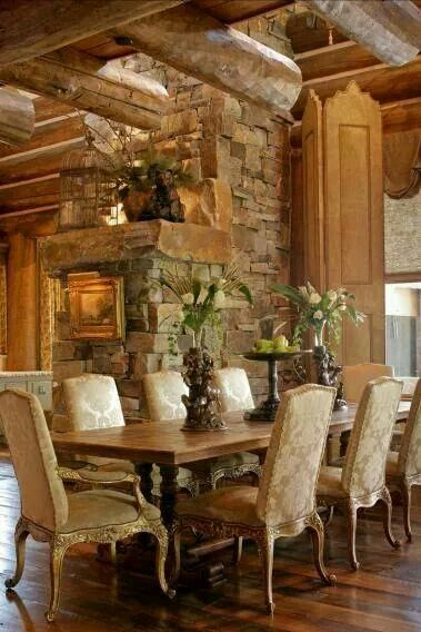 Elegant rustic dining room home pinterest dining for Elegant log homes