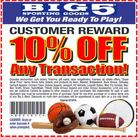 Big 5 sporting goods coupon codes