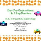 Start Your Engines Game: 1 & 2 Step Directions    This game includes 1 and 2 step direction cards. Blue car cards are 1 step directions, yellow car cards are 2 step directions, and pink cars are 2 ...
