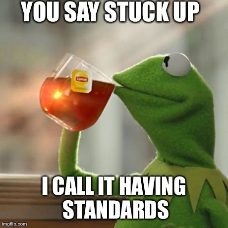 But Thats None Of My Business Meme | YOU SAY STUCK UP I CALL IT HAVING STANDARDS | image tagged in memes,but thats none of my business,kermit the frog | made w/ Imgflip meme maker