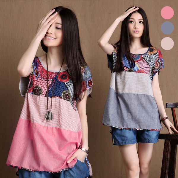 2016 Summer Geometric Printed Pink Gray Khaki Stripe T Shirt Ladies Linen Cotton Loose Oversized T Shirts Women Plus Size Tshirt