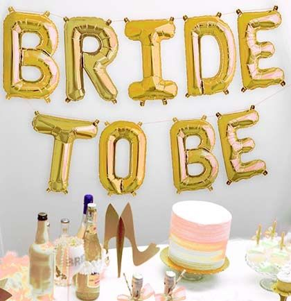Celebrate the last night out with these fun mylar balloons! These gold balloons spell out 'BRIDE TO BE'. Balloons are a fun and inexpensive way to decorate your home, hotel room, car, or restaurant for any party. Fill the balloons with air or helium!.