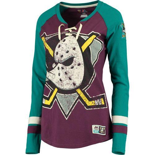 premium selection ea4c9 40d06 Women's Anaheim Ducks Majestic Burgundy/Teal Vintage Hip ...