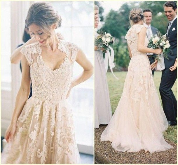 >> Click to Buy << 2016 New Arrival Country Style A line Cap Sleeve V Neck Colored Lace Appliques Tulle 2016 Wedding Dresses Bridal Wedding Gowns #Affiliate