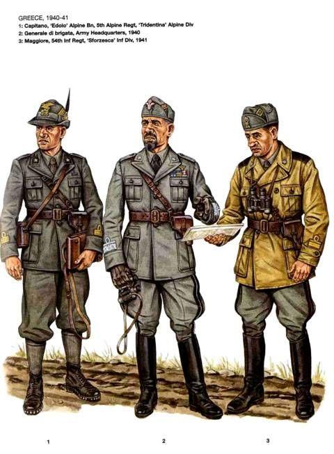 """Reguio Esercito in Grecia 1940-41 - 1 Capitano, Battaglione Alpino """"Edolo"""", 5°Rgmt, Divisione Alpina """"Tridentina"""" - 2 Generale di Brigata, Comando d'Armata, 1940 - 3 Maggiore, 54° Rgmt, Divisione di Fanteria """"Sforzesca"""", 1941"""