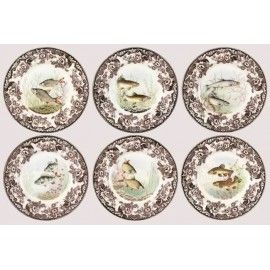 DINNER PLATES, SET OF 6, WOODLAND STREAM Dinner plates, set of 6, Woodland Stream pattern, 27cm, by Spode England.  Each plate depicts different kind of fish: roach, trout, salmon, tench, rudd and perch. Available also: soup bowls, dessert plates 20cm, oval platter.