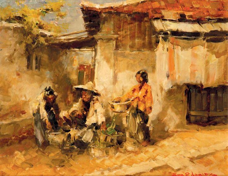 Gerard Pieter Adolfs (Semarang, 1899 – The Netherlands, 1968) - Kampong Hoekse Soerabaia