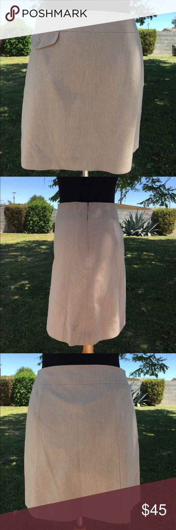 "Banana Republic Wool Cashmere Lt Camel Skirt - 2 Banana Republic Wool Cashmere Lt Camel Skirt Size 2 (gently used, looks new)  Measurements measured flat: Waist: 14"" Length: just under 17"" Banana Republic Skirts Midi"