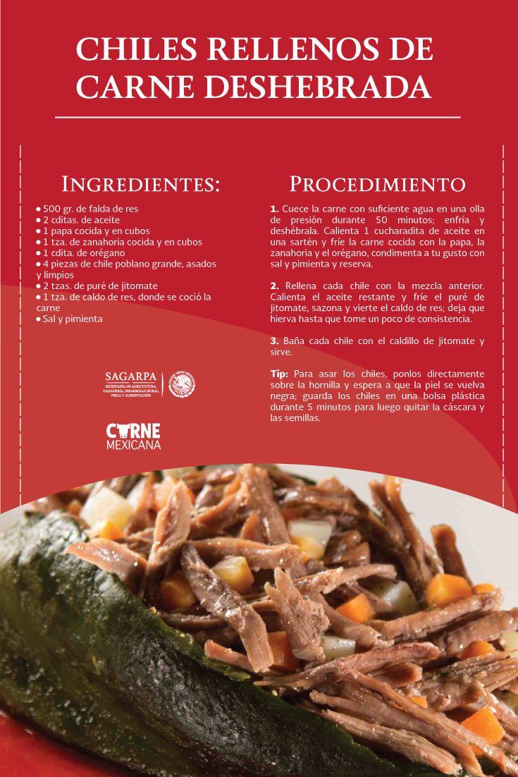 Chiles rellenos de carne deshebrada. SAGARPA SAGARPAMX