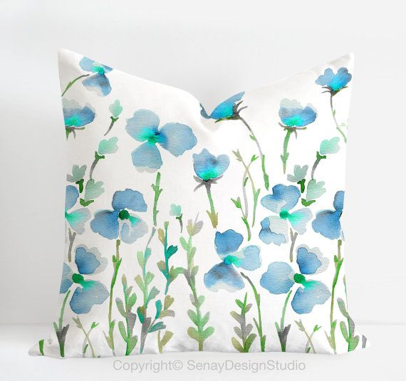 "Aquarelle original design in blue and green colours -linen/cotton Pillow Cover with invisible zipper. Available 16""sq, 18""sq, 20""sq on Etsy, $36.30"