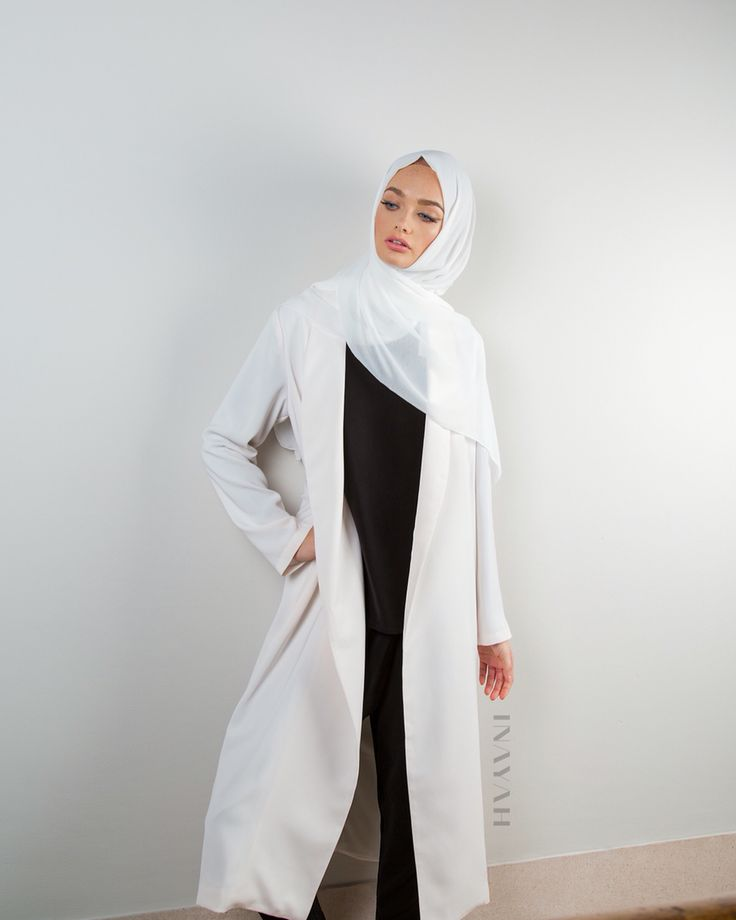 A stylish, adaptable and modest belted coat perfect for everyday styling - Off-white Belted #Midi Coat - available in store and online + Off-white Maxi Georgette #Hijab - www.inayah.co