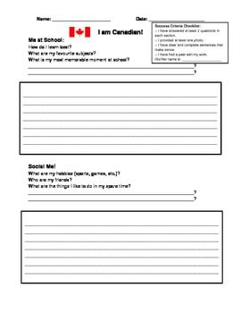 This activity is a great introduction to a Canadian Social Studies unit. I used it in grade 5 with the Ontario Government and Citizenship unit and in grade 4 for the Canada and its Regions unit.  A great way to get to know students while also having students identify themselves as Canadians.  This product could be used to introduce the unit or mid-unit.