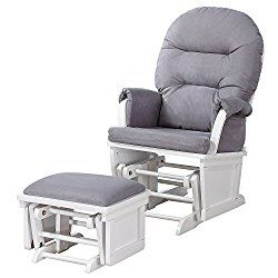 Shermag Contemporary Style Glider Rocker and Ottoman, White with Grey