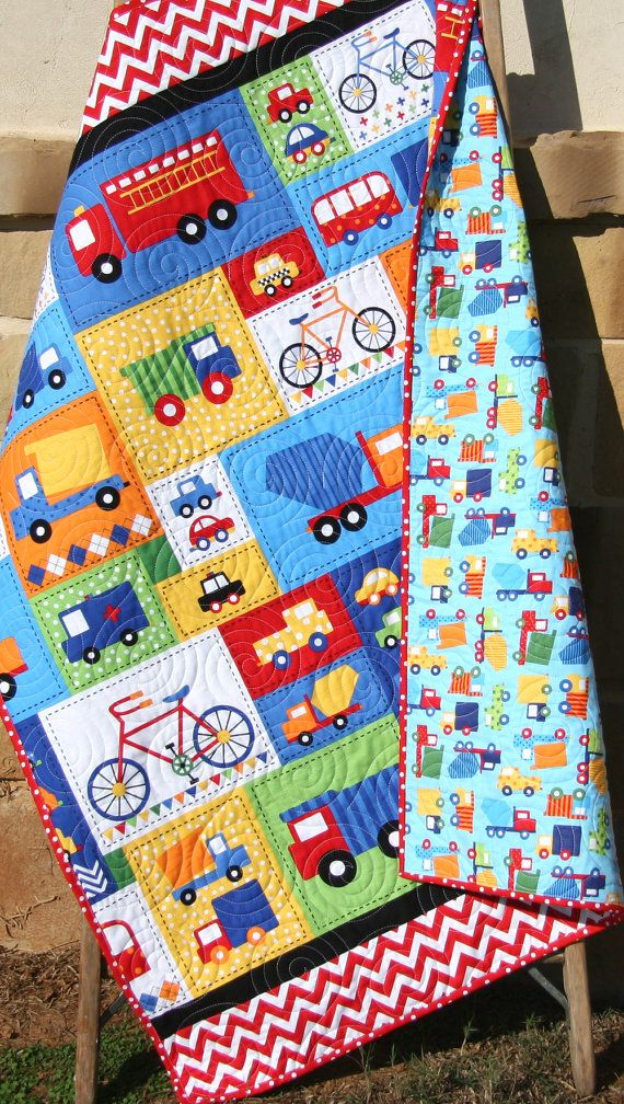 Vehicle Baby Boy Quilt Primary Red Blue By