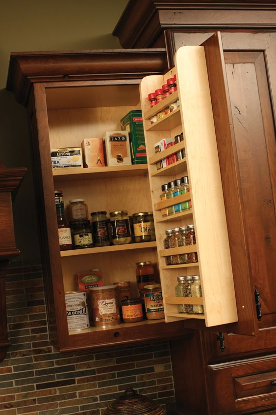 spice rack behind cabinet door: IKEA has a small one, but 3 or 4, it will work too.