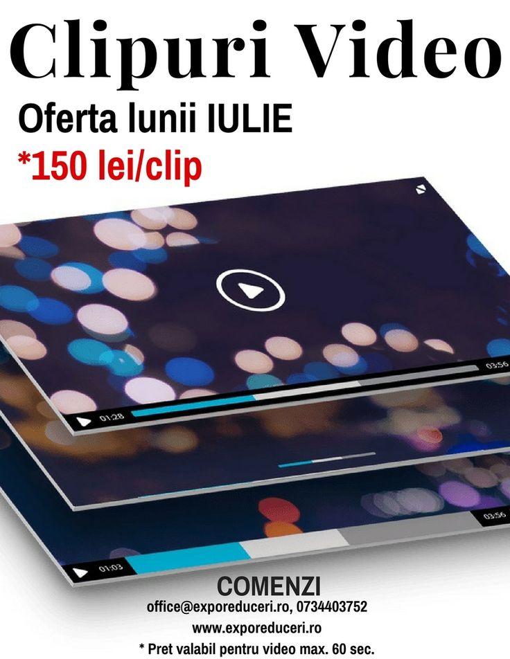 🔖Oferta lunii IULIE - Clipuri Video - *150 lei/clip COMENZI la office@exporeduceri.ro, 0734403752 http://bit.ly/2jMIFu4 * Pret valabil pentru video max. 60 sec. #webdesign #clipvideo #creativitate