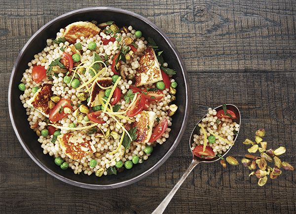 Pearl Couscous & Haloumi Salad. This can be made up to eight hours ahead of time and travels well, so it's ideal for a barbecue or pot-luck dinner. Make this recipe! 20 mins serves 4.