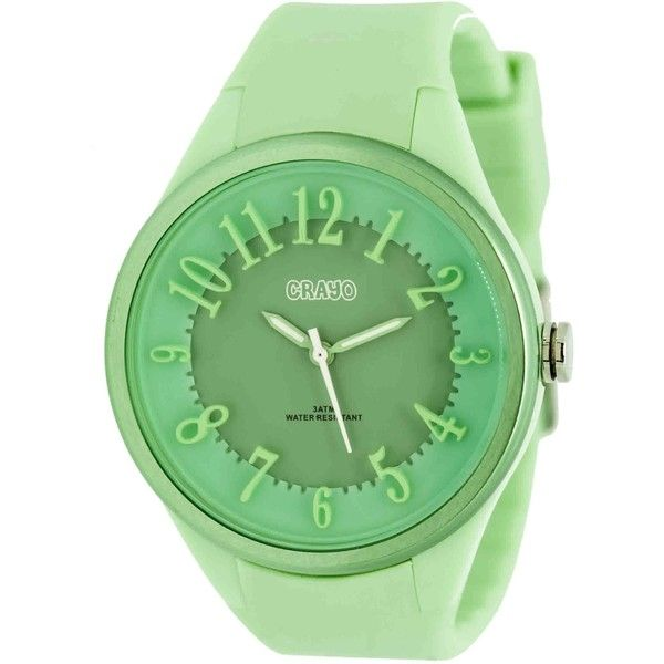 Crayo Burst Mint Dial Mint Silicone Ladies Watch (€53) ❤ liked on Polyvore featuring jewelry, watches, crayo, dial watches, water resistant watches, round watches and quartz movement watches