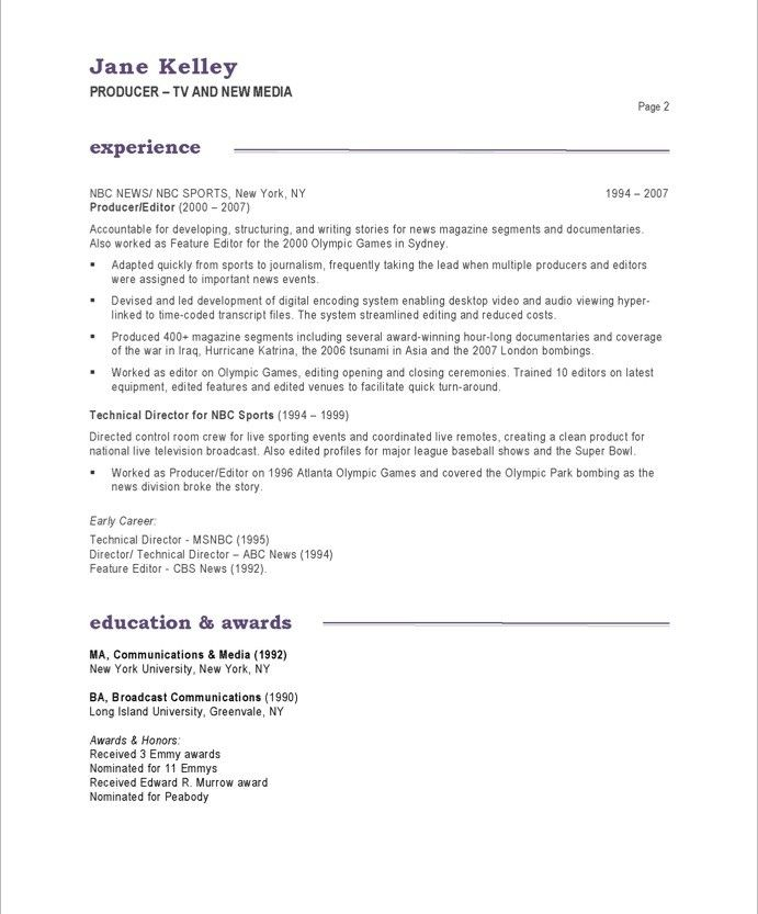 Sample Resume: Tv New Media Producer Page Entertainment.  Entertainment Industry Resume