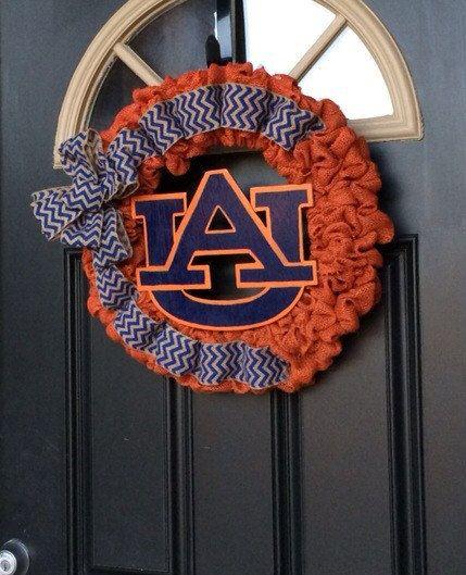 Auburn Orange Burlap Wreath Auburn Wreath by ADoorAbleCreationz