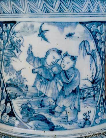 Manufaktur Meißen Porzellan - Chinese children, as a Meissen vase-pain