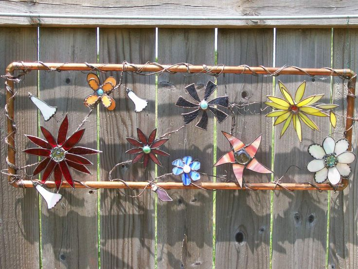 Wild Flowers Stained Glass Copper Tube Frame