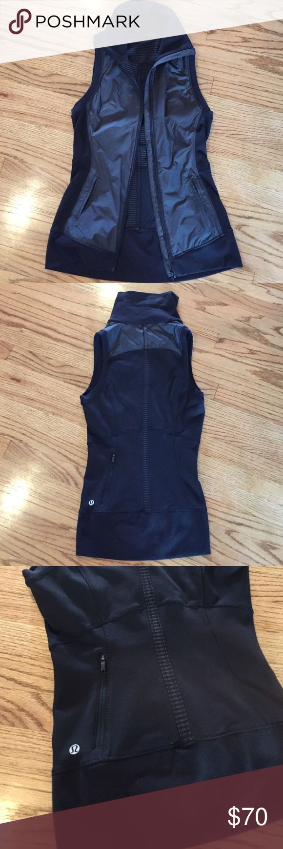 Lululemon vest! Awesome warm vest by lululemon. It's one of those items that you love so much but just sits there because I live in California where our weather is never cold enough to wear it. Thinking of sending it out to someone who will wear it. Perfect condition, no flaws. I think I wore it twice. Back pocket with zipper, inside back pocket, and two pockets on the sides. High neck to zip up and keep you warm. But thin enough to layer a coat over it. Front is nylon material. Soft, lovely…