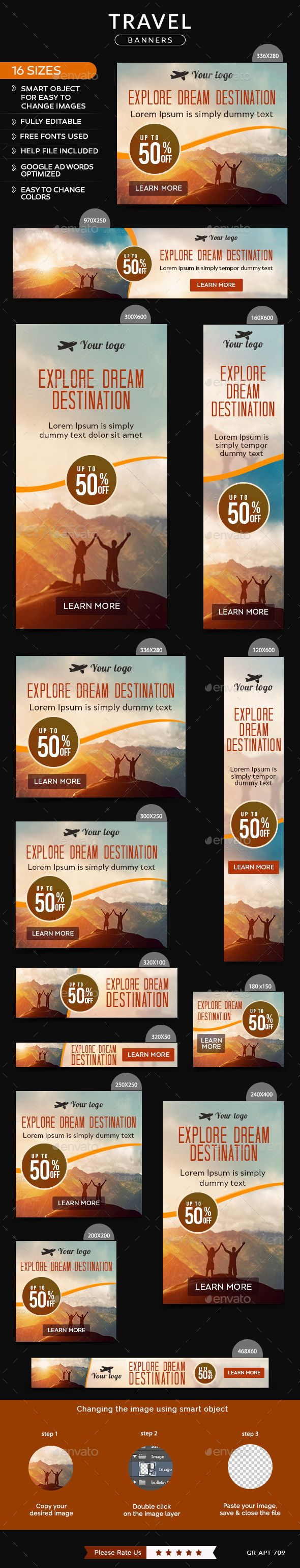 Travel Banners #design Download: http://graphicriver.net/item/travel-banners/11932690?ref=ksioks