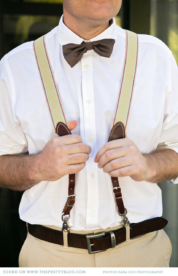 relaxed groomsmen outfit - clothing braces & bow tie