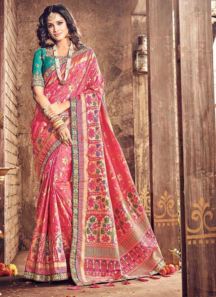 Pink Banarasi Silk #WeddingSarees With Embroidered,Print,Lace Works. Order Wedding Sarees Online @Chennaistore.com