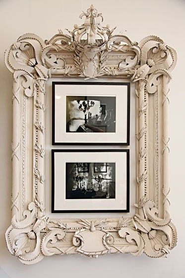 so cool - empty ornate vintage frame with modern sleek frames inside. This particular frame is a little fussy for my taste, but I like the idea - and it might help fill up a large empty wall by tying together smaller pieces.
