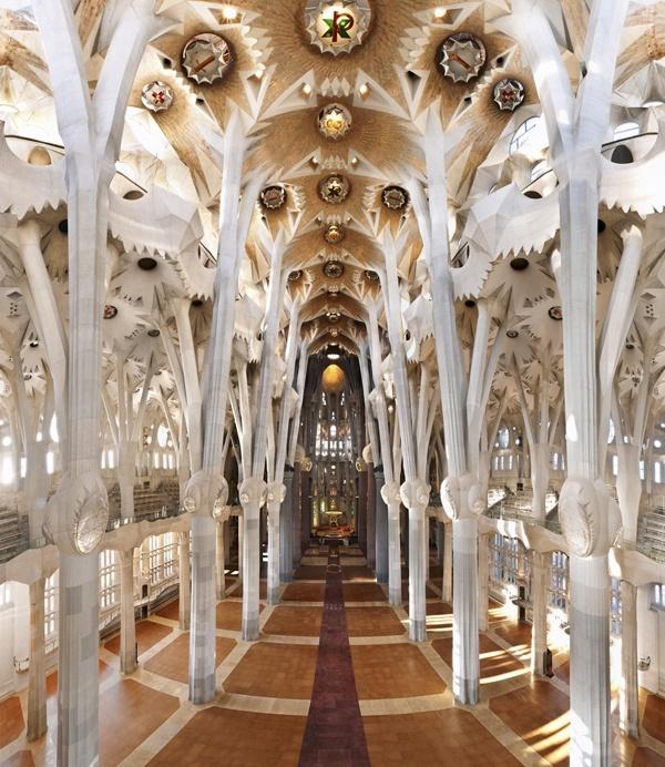Central nave of La Sagrada Familia by Gaudí. Barcelona