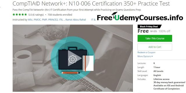 [Udemy #BlackFriday] #CompTIA Network: N10-006 Certification 460 Practice Test   About This Course  Published 11/2016English  Course Description  2016-2017 Version  CompTIA Network is a networking International certification in IT. This certification acknowledges professionals from the required knowledge and skills required to design manage lead configure and apply the appropriate troubleshooting wired and wireless networks. This certification is highly demanded.  IT professionals…