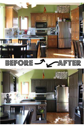 """Kitchen Cabinet - Reveal!! (thanks Rustoleum!) - Sugar Bee Crafts Rustoleum cabinet refacing kit in """"castle"""""""