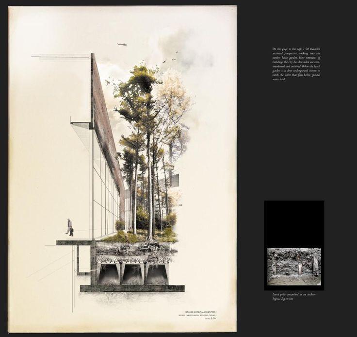 Presidents Medals: Belfast 'Polis' House. detailed sectional perspective, sunken larch garden.