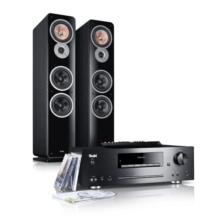 Kombo 62 jetzt kaufen! Leistungsstarke Stereo-Anlage der Spitzenklasse für Musik, TV-Ton, Radio ✔ 200 Watt-Bluetooth-CD-MP3-Receiver mit Fernbedienung! Standlautsprecher Ultima 40 in 3-Wege-Aufbau für klare, bassstarke Wiedergabe