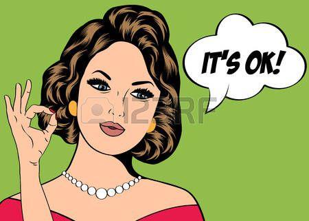 acconciature: Pop Art illustrazione della ragazza con il discorso bubble.Pop Art ragazza. Partito invito. Auguri di compleanno manifesto card.Vintage pubblicità. Donna di modo con la nuvoletta.