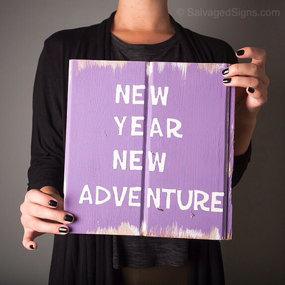 wooden sign new year new adventure home decor reclaimed wood custom - Custom Signs For Home Decor
