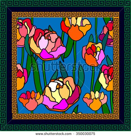 Scarf with floral seamless vector pattern. Colorful retro peonies with bold contours and meander border. Art Nouveau style vintage textile collection. Backgrounds & textures shop.