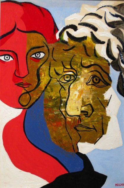 Vieillard et jeune femme, 1945, by Alfred Pellan (Canadian, 1906-1988).