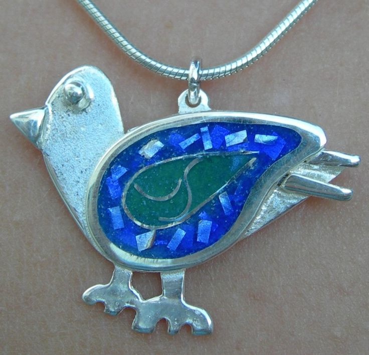 Bluebird of happiness pendant in sterling silver with cloisonné vitreous enamel by Sasha Leon Sculpture & Jewellery at www.slsj.co.za